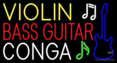 Violin Bass Guitar Conga  Neon Sign