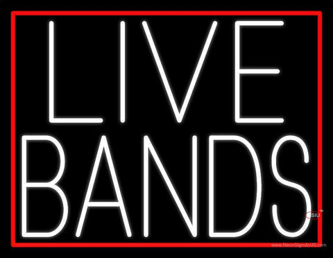 White Live Bands  Neon Sign