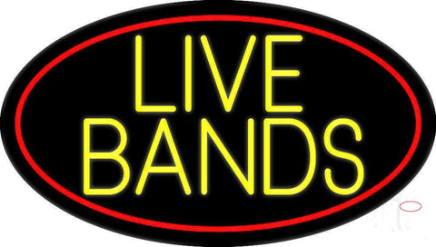 Yellow Live Bands  Neon Sign