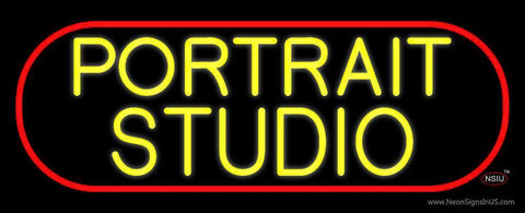 Yellow Portrait Studio Border Neon Sign