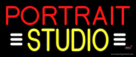 Yellow Portrait Studio with White Line Neon Sign