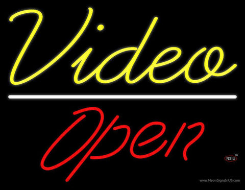 Yellow Video Open Neon Sign