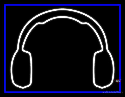 White Headphone Neon Sign