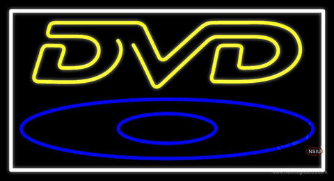 Yellow Dvd With White Border Neon Sign