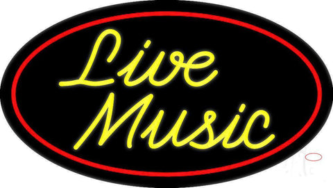 Yellow Live Music Cursive  Neon Sign