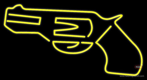 Yellow Gun Neon Sign