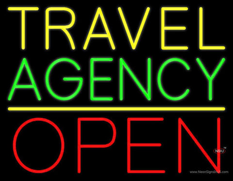 Yellow Travel Green Agency Open Neon Sign