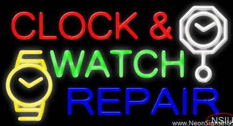 Clock And Watch Repair Real Neon Glass Tube Neon Sign
