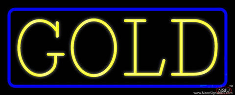 Yellow Gold Blue Border Real Neon Glass Tube Neon Sign