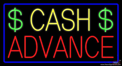 Yellow Cash Advance Dollar Logo Blue Border Real Neon Glass Tube Neon Sign