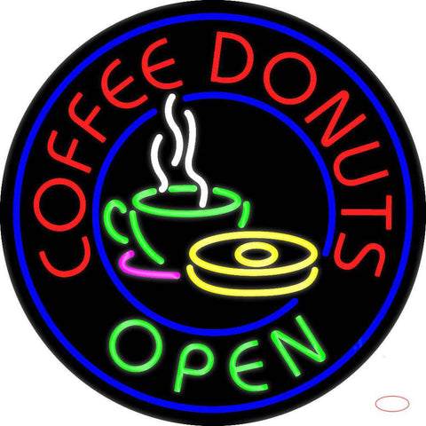Round Red Coffee Donuts Open Real Neon Glass Tube Neon Sign