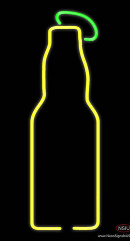 Yellow Beer Bottle Real Neon Glass Tube Neon Sign