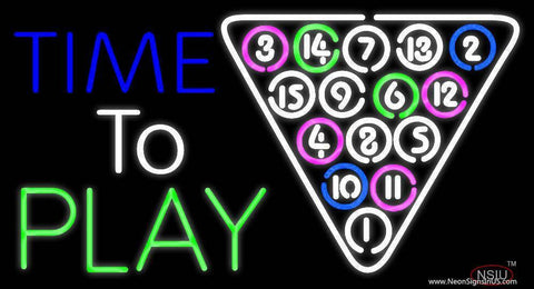 Time To Play Pool Real Neon Glass Tube Neon Sign