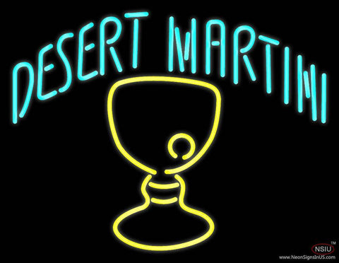 Desert Martini With Yellow Glass Real Neon Glass Tube Neon Sign