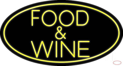 Yellow Food and Wine Real Neon Glass Tube Neon Sign