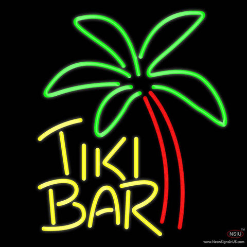 Yellow Tiki Bar With Palm Tree Real Neon Glass Tube Neon Sign