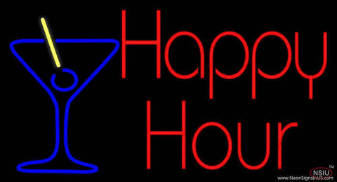 Red Happy Hour With Blue Martini Glass Real Neon Glass Tube Neon Sign