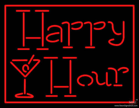 Red Happy Hour With Wine Glass Real Neon Glass Tube Neon Sign