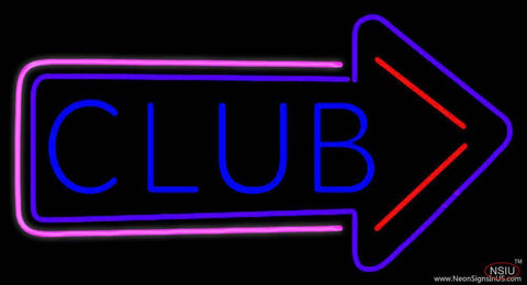Club With Arrow Real Neon Glass Tube Neon Sign