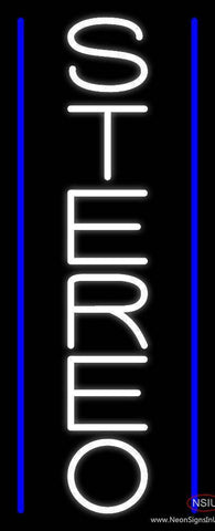 Vertical White Stereo Block Blue Line  Real Neon Glass Tube Neon Sign