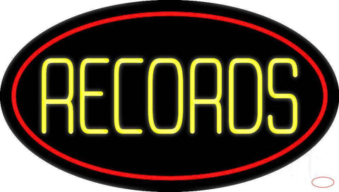 Yellow Records Red Border  Real Neon Glass Tube Neon Sign