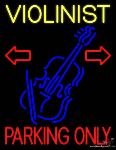 Yellow Violinist Red Parking Only Real Neon Glass Tube Neon Sign