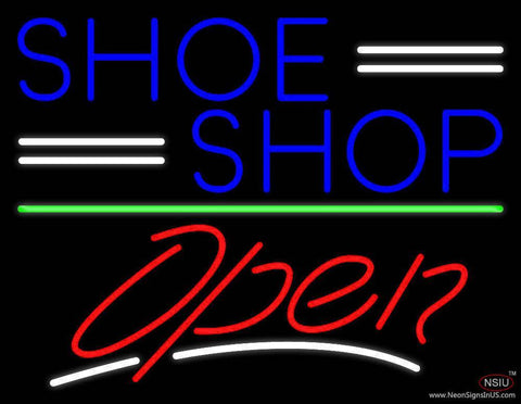 Blue Shoe Shop Open Real Neon Glass Tube Neon Sign