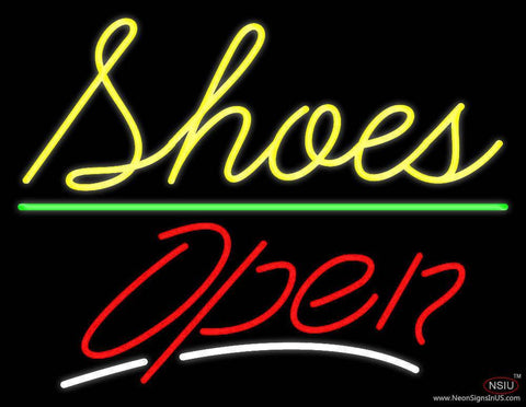 Cursive Shoes Open Real Neon Glass Tube Neon Sign