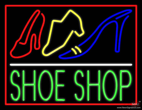 Green Shoe Shop With Border Real Neon Glass Tube Neon Sign