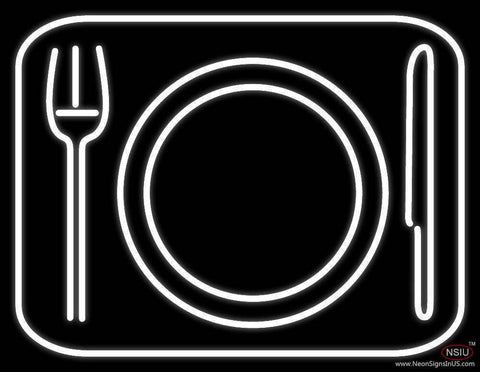Plate With Fork and Spoon Luncheonette Real Neon Glass Tube Neon Sign