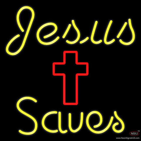 Yellow Jesus Saves With Cross Real Neon Glass Tube Neon Sign