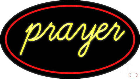 Yellow Prayer With Border Real Neon Glass Tube Neon Sign