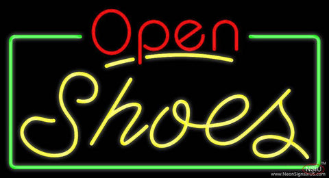 Yellow Shoes Open With Border Real Neon Glass Tube Neon Sign