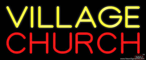 Yellow Village Red Church Real Neon Glass Tube Neon Sign