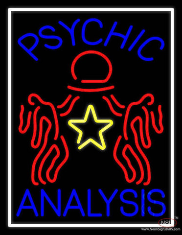Blue Psychic Analysis With Logo Real Neon Glass Tube Neon Sign