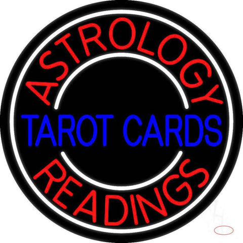 Blue Tarot Cards Red Astrology Readings Real Neon Glass Tube Neon Sign