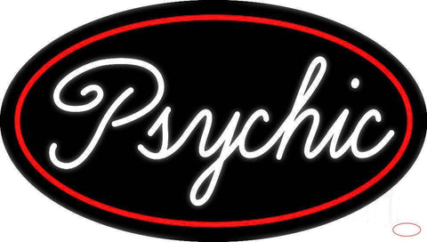 Cursive White Psychic Red Border Real Neon Glass Tube Neon Sign