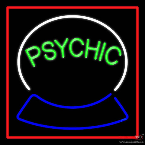 Green Psychic Logo Red Border Real Neon Glass Tube Neon Sign