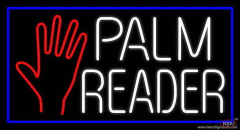 White Palm Reader With Blue Border Real Neon Glass Tube Neon Sign