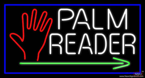 White Palm Reader With Green Arrow Real Neon Glass Tube Neon Sign