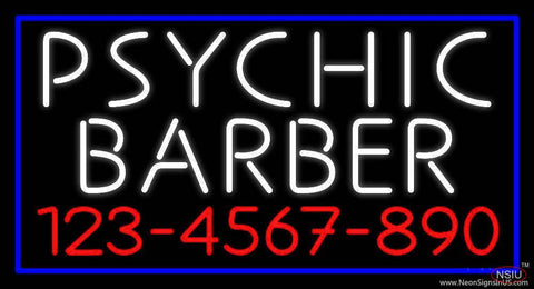 White Psychic Barber With Phone Number Real Neon Glass Tube Neon Sign