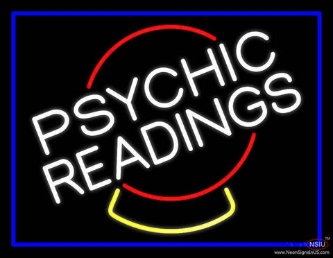 White Psychic Readings Crystal Blue Border Real Neon Glass Tube Neon Sign