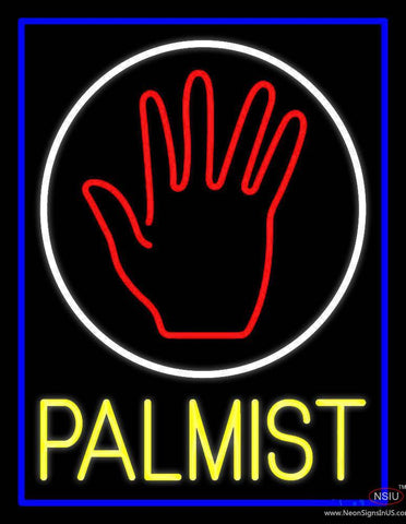 Yellow Palmist Block With Logo Real Neon Glass Tube Neon Sign