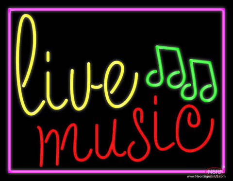 Blue Live Music Cursive With Border  Real Neon Glass Tube Neon Sign