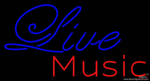 Cursive Live Music Real Neon Glass Tube Neon Sign