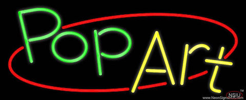 Green Pop Yellow Art Real Neon Glass Tube Neon Sign