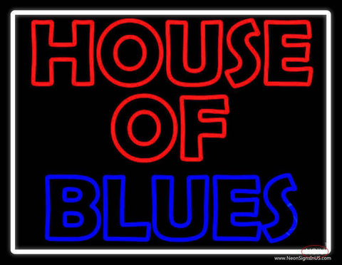 White Border House Of Blues Real Neon Glass Tube Neon Sign