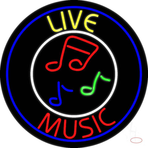 Yellow Live Red Music With Circle Real Neon Glass Tube Neon Sign