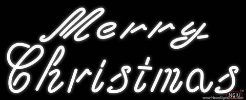 White Cursive Merry Christmas Real Neon Glass Tube Neon Sign