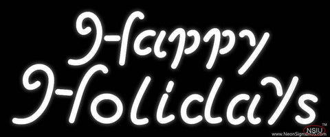 White Happy Holidays Real Neon Glass Tube Neon Sign